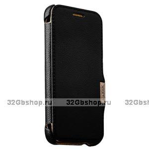 Черный кожаный чехол i-Carer для HTC ONE M9 - Litchi Pattern Series side-open black