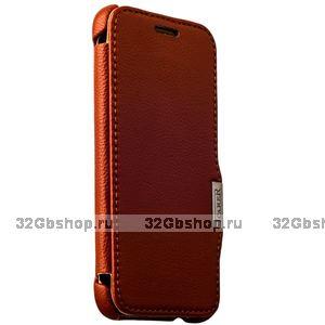 Коричневый кожаный чехол i-Carer для HTC ONE M9 - Litchi Pattern Series side-open brown