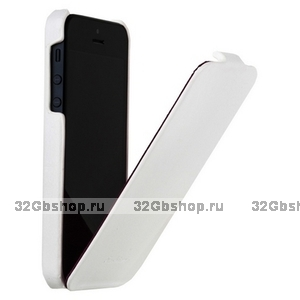 Чехол Fashion для iPhone 5 / 5s / SE с откидным верхом белый