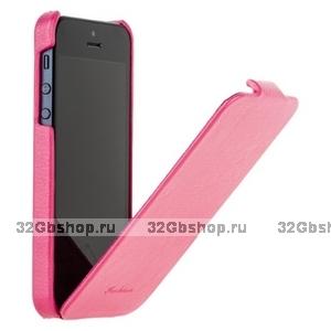 Чехол Fashion для iPhone 5 / 5s / SE с откидным верхом розовый
