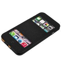 Черный чехол книжка с окошком для iPhone 6s Plus/ 6 Plus (5.5) - Jisoncase Genuine Leather Case Black
