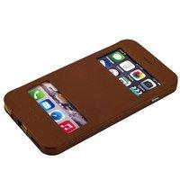 Коричневый чехол книжка с окошком для iPhone 6s Plus/ 6 Plus (5.5) - Jisoncase Genuine Leather Case BROWN