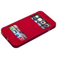 Розовый чехол книжка с окошком для iPhone 6s Plus/ 6 Plus (5.5) - Jisoncase Genuine Leather Case ROSE