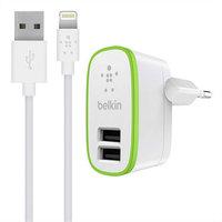 Зарядное устройство 2 в 1 Belkin для iPhone 6s / 6 / 5s / 5c / 5 / iPad mini / ipad Air - Belkin 2-port Home Charger 2.1А 10W + Lightning Cable белое