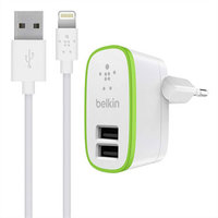 Зарядное устройство 2 в 1 Belkin для iPhone 6s / 6 / 5s / 5c / 5 / iPad mini / ipad Air - Belkin 2-port Home Charger 2.1А 10W + Lightning Cable белое