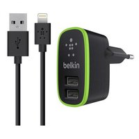 Зарядное устройство 2 в 1 Belkin для iPhone 6s / 6 / 5s / 5c / 5 / iPad mini / ipad Air - Belkin 2-port Home Charger 2.1А 10W + Lightning Cable черное