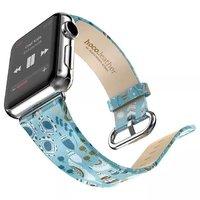 Голубой ремешок с узором Hoco для Apple Watch 42mm сказка - Hoco Super Star Series Figure Watchband Blue Fairy Tale