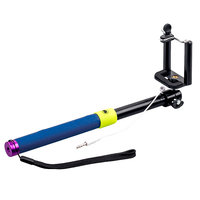 Палка для селфи монопод с кнопкой подключается через аудио кабель SELFIE Monopod фиолетовый — 110см