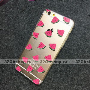 """Прозрачный силиконовый чехол для iPhone 6s / 6 (4.7"""") Арбузы"""