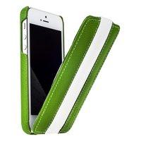 Кожаный чехол Melkco для iPhone 5 / 5s / SE - Jacka Type Green/White зеленый/белый