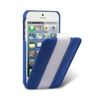 Кожаный чехол Melkco для iPhone 5 / 5s / SE - Jacka Type Blue/White синий/белый