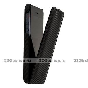 Чехол Melkco для iPhone 5 /5s / SE Leather Case Jacka Type Carbon Fiber