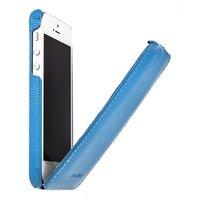 Кожаный чехол Melkco для iPhone 5c голубой - Leather Case Jacka Type (Blue LC)
