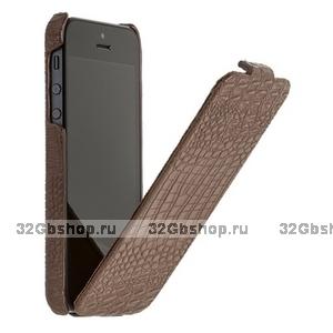 Чехол Borofone для iPhone 5s / SE / 5 - Borofone Crocodile flip Leather case Brown