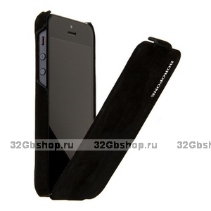Замшевый чехол Borofone для iPhone 5s / SE / 5 - Borofone Shark flip Leather Case Black