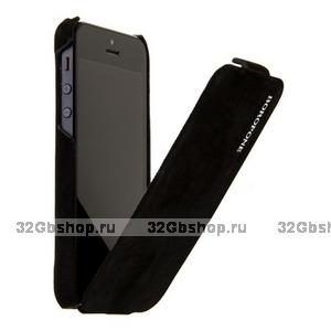 Замшевый чехол Borofone для iPhone 5s / SE / 5 - Borofone Shark flip Leather Case Black