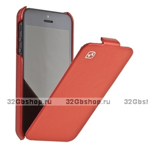 Кожаный чехол HOCO для iPhone 5 / 5s / SE - HOCO Duke Leather Case red