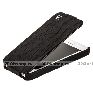 Кожаный чехол для iPhone 5s / SE / 5 - HOCO Knight Leather Case Black