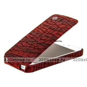 Кожаный чехол HOCO для iPhone 5s / SE / 5  HOCO Knight Leather Case Wine Red