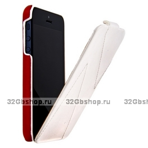 Кожаный чехол HOCO для iPhone 5s / SE / 5 - HOCO Mixed color Leather Case H White&Red
