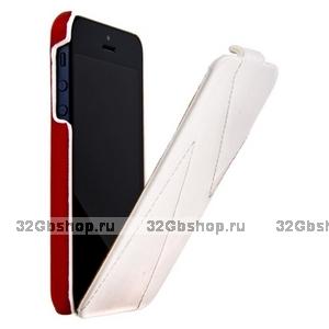 Кожаный чехол HOCO для iPhone 5s / SE / 5 - HOCO Mixed color Leather Case H White&Red
