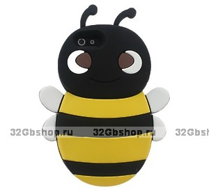 Накладка Bee 3D Silicone Case Black&Yellow для iPhone 5 / 5s / SE пчела черная с желтым