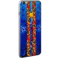 Стекло защитное с узором синяя хохлома с полосками для iPhone 6s/ 6 комплект на 2 стороны