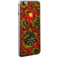 Стекло защитное с узором желтая хохлома для iPhone 6s/ 6 комплект на 2 стороны