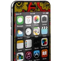 Стекло защитное с узором желтая хохлома для iPhone 6s Plus/ 6 Plus комплект на 2 стороны