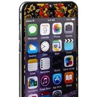 Стекло защитное с узором для iPhone 6s Plus/ 6 Plus комплект на 2 стороны черно-желтая хохлома с полосками