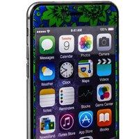 Стекло защитное с узором для iPhone 6s Plus/ 6 Plus комплект на 2 стороны сине-зеленая хохлома