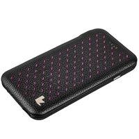 """Черный кожаный чехол для iPhone 6s / 6 (4.7"""") розовые вставки - Jisoncase Executive Flip Case"""