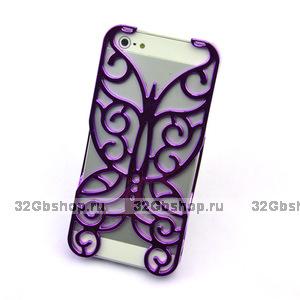 Накладка Chrome Butterfly Case Purple для iPhone 5 / 5s / SE фиолетовая бабочка