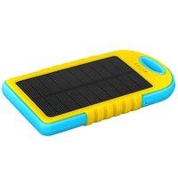 Внешний универсальный аккумулятор Solar charger ES500 Power Bank 5000mAh два выхода USB 5V 2x1A желто-голубой