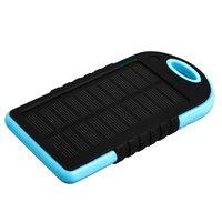 Внешний аккумулятор Solar charger ES500 Power Bank 5000mAh два выхода USB 5V 2x1A черный с голубым
