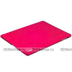 Ярко-розовый кожаный чехол Birscon для iPad 4 / 3 / 2 Fashion series Rose Red