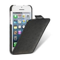 Кожаный чехол Melkco для iPhone 5C черный страус - Melkco Leather Case Jacka Type Ostrich Print pattern - Black