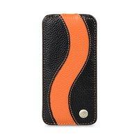 Черный кожаный чехол Melkco для iPhone 5C с оранжевой полосой - Melkco Leather Case Special Edition Jacka Type Black/ Orange LC