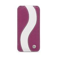 Фиолетовый кожаный чехол Melkco для iPhone 5C с белйо полосой - Melkco Leather Case Special Edition Jacka Type Purple/ White LC