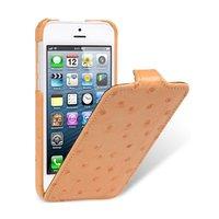 Кожаный чехол Melkco для iPhone 5C оранжевый страус - Melkco Leather Case Jacka Type Ostrich Print pattern - Orange