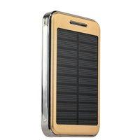 Универсальный внешний аккумулятор с солнечной батареей и светильником Solar Charger Power Bank 20000mAh (2 USB выхода 1.0A и 2.1A) золотистый