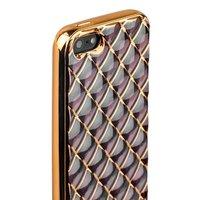 Объемный силиконовый чехол для iPhone 5s / SE / 5 прозрачный с золотистыми ромбами
