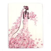 Белый чехол  для iPad 4 / 3 / 2 Fashion series White Девушка и цветы
