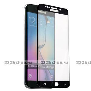 Стекло защитное для Samsung GALAXY S6 Edge - Premium Glass 0.26mm черный закругленный край