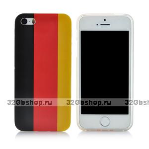 Задняя накладка для iPhone 5 / 5s / SE флаг Германии ретро