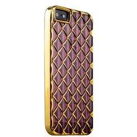 Объемный силиконовый чехол для iPhone 5s / SE / 5 прозрачно-розовый с золотыми ромбами