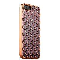 Объемный силиконовый чехол для iPhone 5s / SE / 5 прозрачно-розовый с ромбами розовое золотой