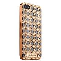 Золотой силиконовый объемный чехол для iPhone 5s / SE/ 5 со стразами