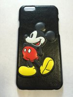 """Кожаный чехол накладка с тиснением рисунка для iPhone 6 / 6s (4.7"""") Микки Маус"""