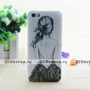 Чехол накладка силиконовая для iPhone 5s / SE / 5 с рисунком Девушка